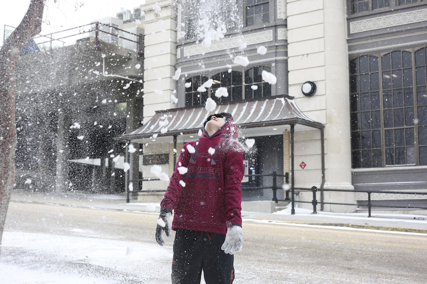 Snowfall in Vicksburg, MS, 1/16/18