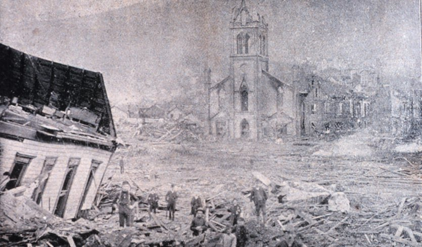 A photograph of downtown Johnstown, Pennsylvania following the flood of May 31, 1889