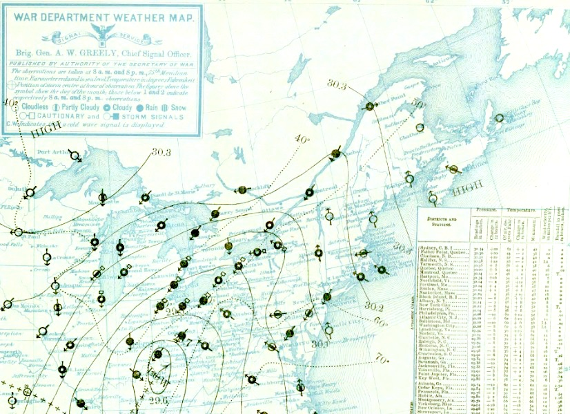 Daily weather map for 8 am May 30, 1889, the day before the big flood in Johnstown