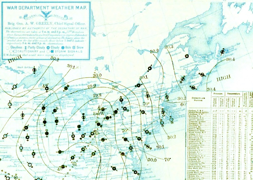 Daily weather map for 8 am May 31, 1889, the day of the great Johnstown Flood of 1889