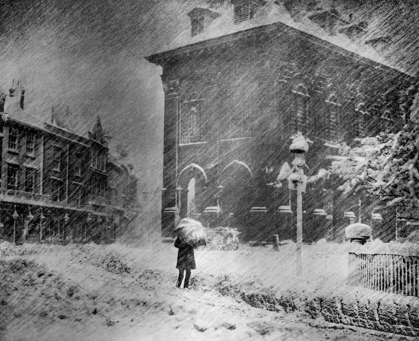 An intense late-season snowstorm on April 24-25, 1908, as photographed in Oxfordshire