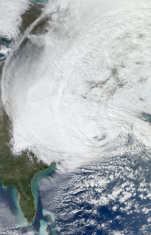 A satellite image of Hurricane Sandy as it approached the shoreline of New Jersey on October 29,, 2012