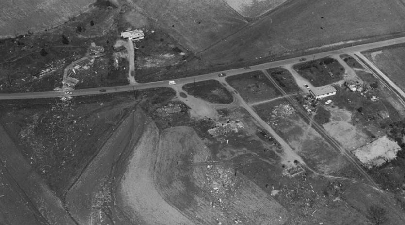 Torando damage near the town of Hazel Green, Alabama, 4/3/1974