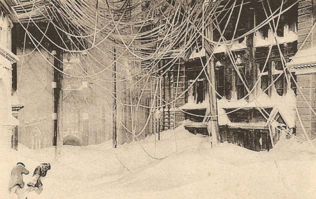Scene from the New York blizzard of March 11-13, 1888