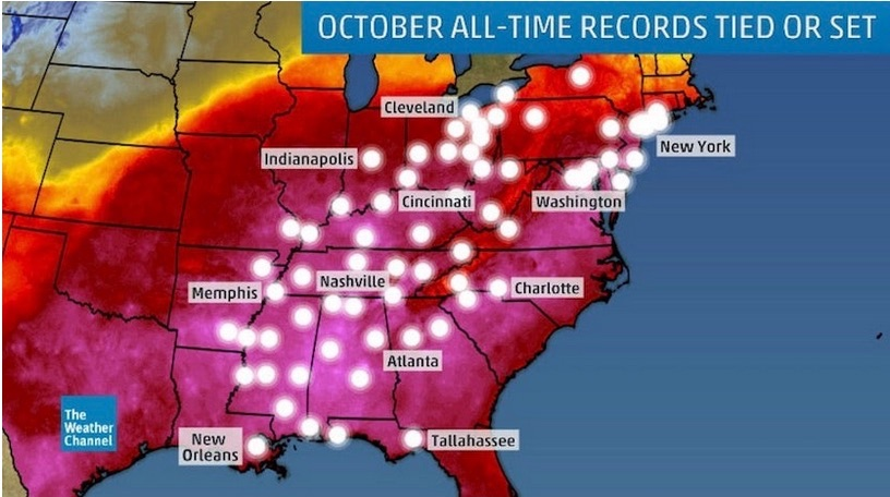 Map of sites in the eastern U.S. that set their all-time October monthly heat records during the period of October 1-4, 2019
