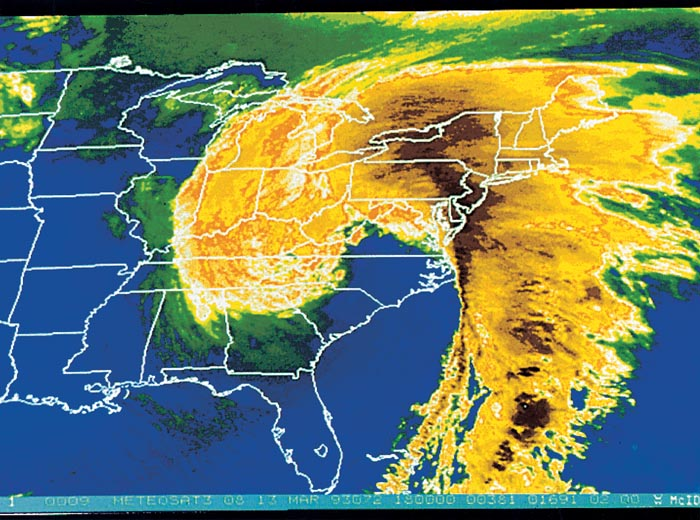 Enhanced satellite image of Superstorm of March 12-15, 1993