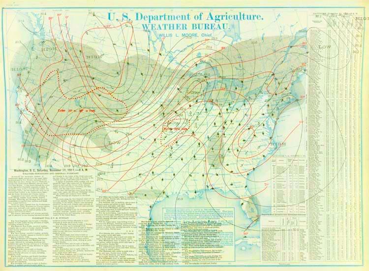The U.S. Weather Bureau weather map for 8 am November 11, 1911.