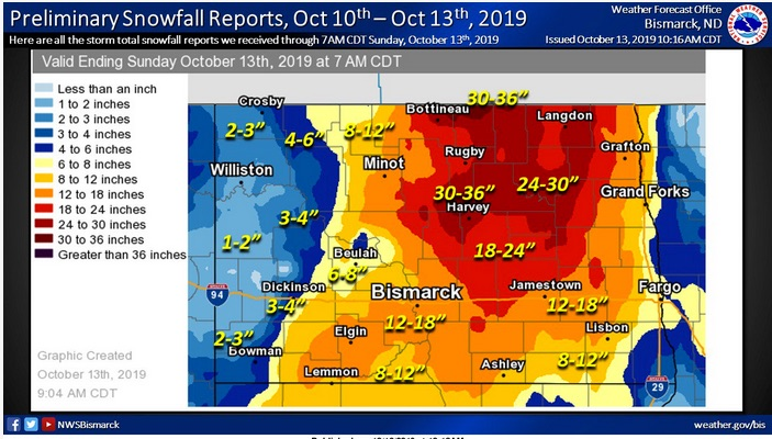 Snowfall map for North Dakota following the state's greatest October blizzard on record