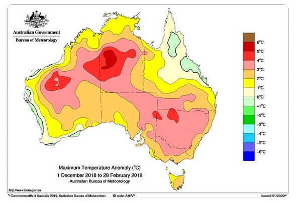 Nearly all of Australia saw well above normal temperatures in the summer of 2018-19