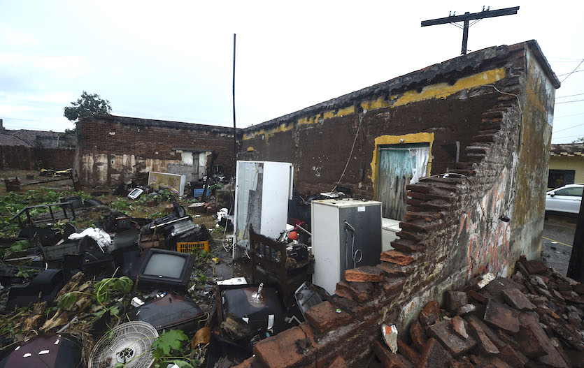 A building destroyed by Hurricane Willa in Escuinapa, Sinaloa state, Mexico, photographed on Wednesday, October 24, 2018