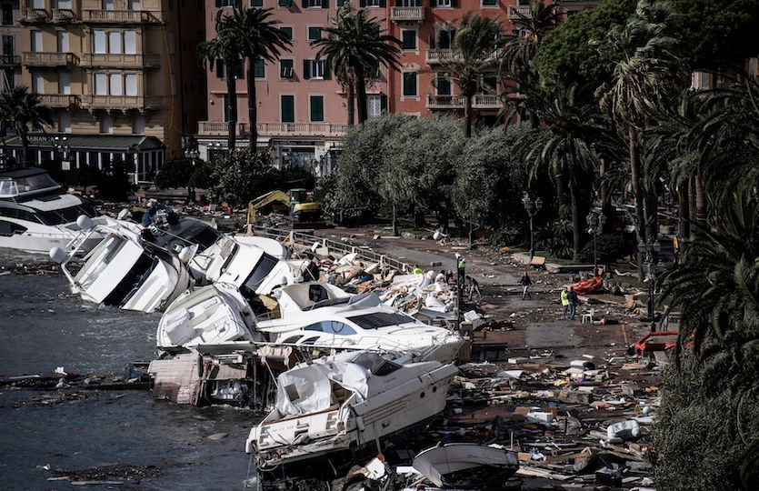 Figure 1. Destroyed yachts and boats lie in the harbour of Rapallo, near Genoa, on October 30, 2018, after a storm hit the region and destroyed a part of the dam the night before. Image credit: Marco Bertorello/AFP/Getty Images.