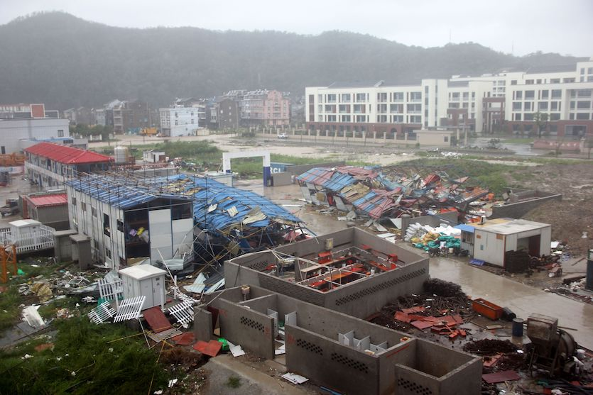 Damaged worker accommodation buildings in Wenling City following Typhoon Lekima, 8/10/2019
