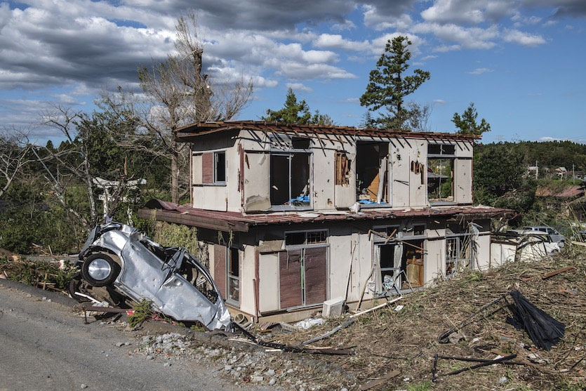 Damage from tornado associated with Typhoon Hagibis, 10/13/19