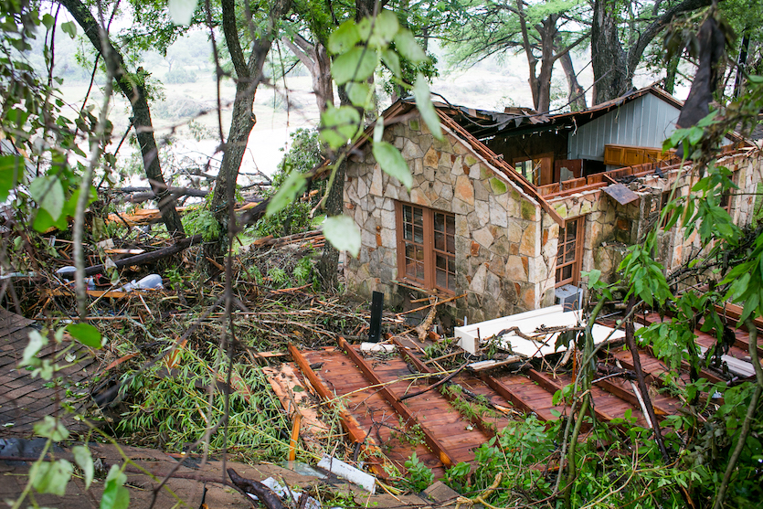 Flood-damaged house in Wimberley, TX, May 2015