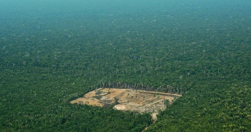 Aerial view of deforestation in the Western Amazon region of Brazil on September 22, 2017