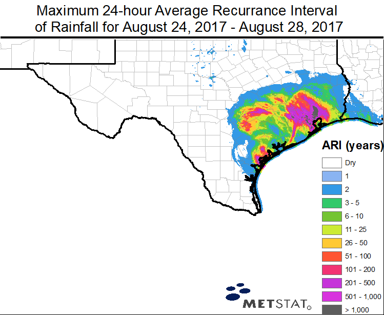 Recurrence intervals for Harvey rainfall, 8/29/2017