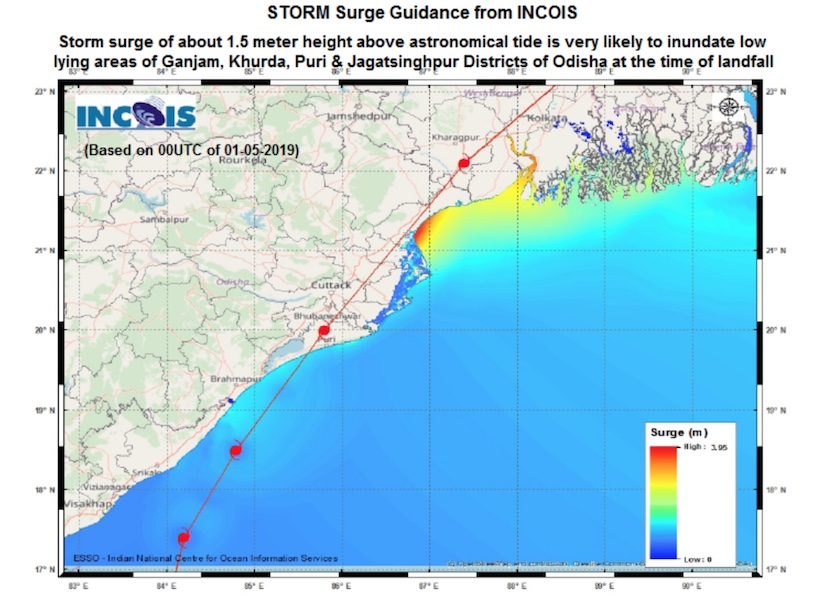 Potential storm surge, in meters, as predicted by modeling from the Indian National Center for Ocean Information Services as of 0Z Wednesday, May 1, 2019.