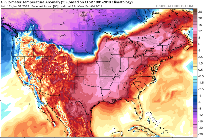 Departures from average temperature for Monday morning, 2/4/19, predicted by the GFS model on 1/31/19