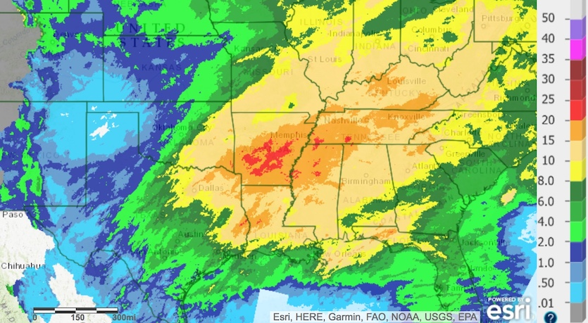 Total amount of rainfall for the 30-day period ending at 8 am EDT Wednesday, March 28.