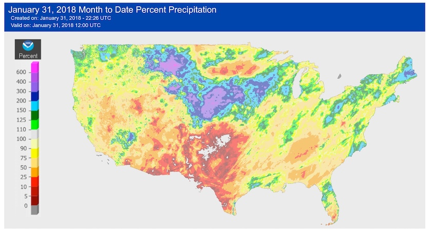 Percentage of average precipitation for January 2018 through 12Z (7 am EST) Wed., Jan 31.