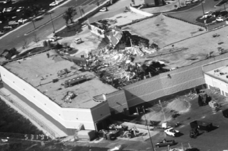 Aerial photo of damage to Albertsons grocery, Cedar Park, TX, 5/27/1997