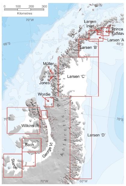 Map of ice shelves along the Antarctic Peninsula