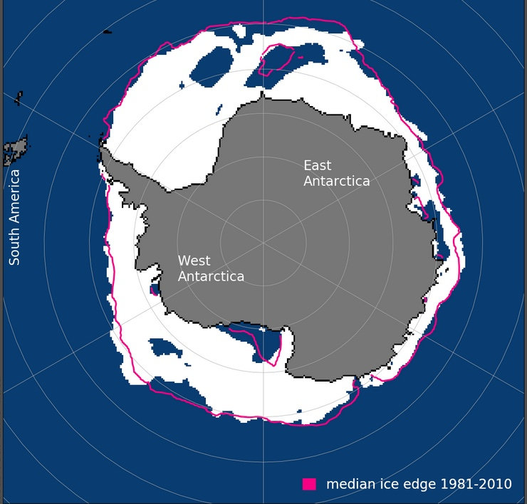 Map of Antarctic sea ice extent for Dec, 1978-2018