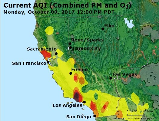 Air Quality Index for California, 10/9/2017