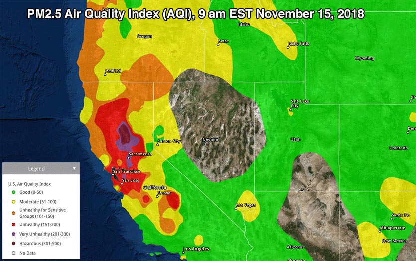 Air Quality Index for northern and central California, 11/15/2018