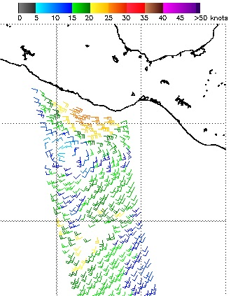 ASCAT scatterometer-derived winds around TD 2E on Wed. AM 5/31/2017