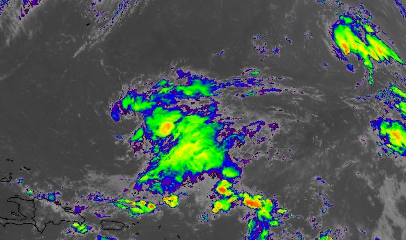 Infrared GOES-16 satellite image of the area of disturbed weather east of the Bahamas and north of the Leeward Islands at 11:15 am EDT Monday, October 9, 2017. Tropical Storm Ophelia can be seen at top right.