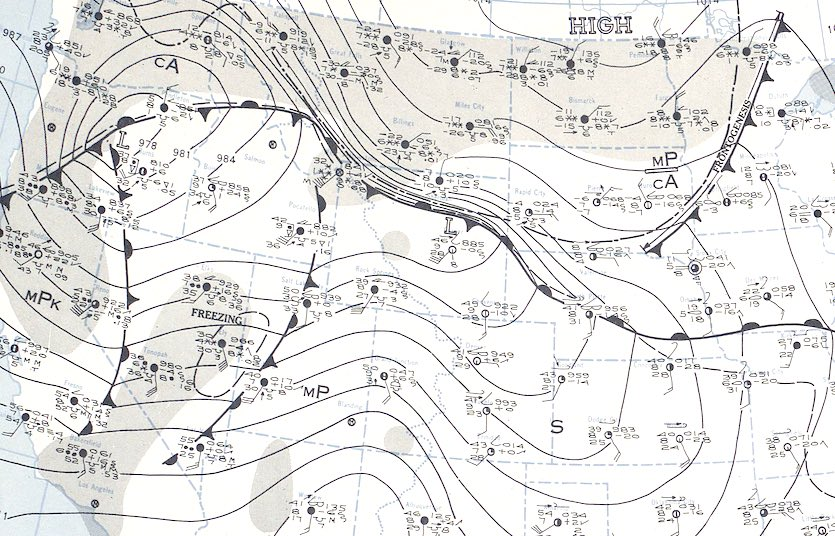 Daily Weather Map for January 22, 1943, at 1:30 am Eastern time, just hours prior to when  extreme temperature fluctuations commenced in SD