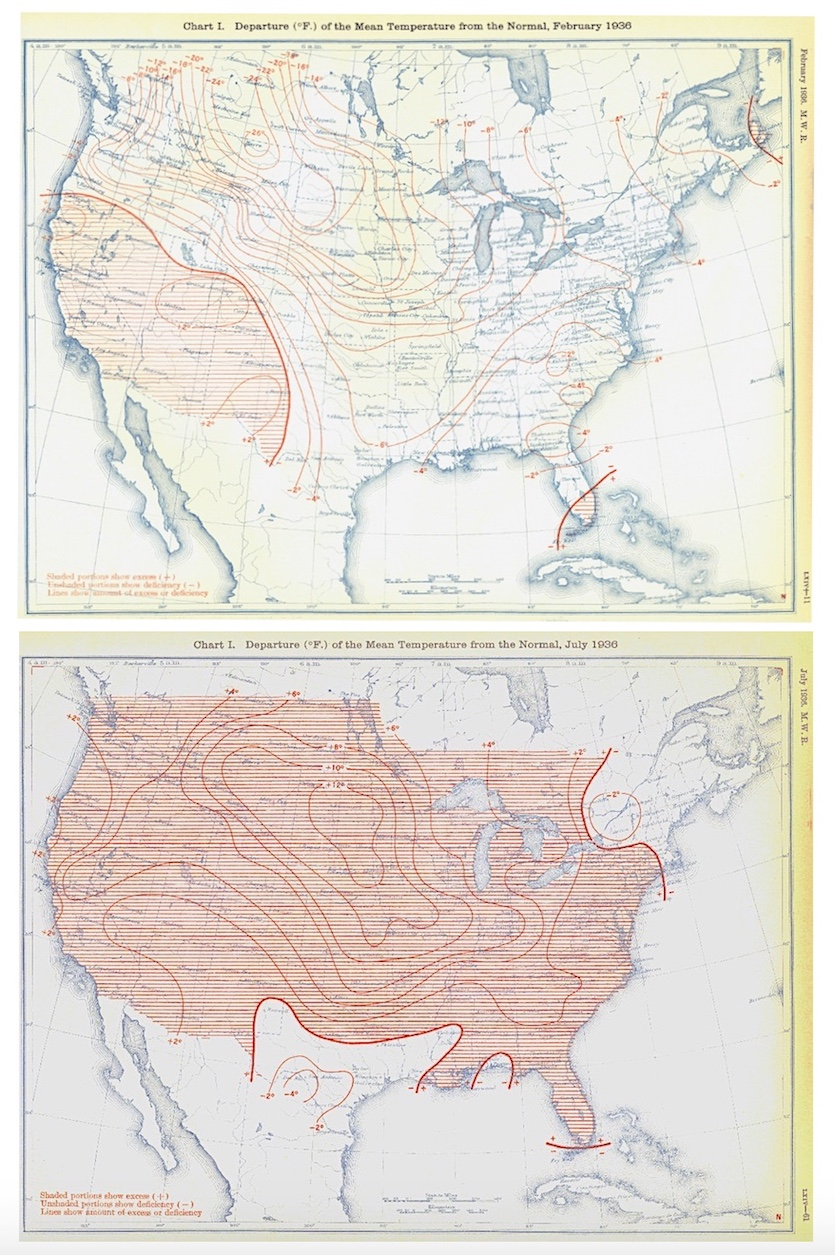 Maps of the average temperature departure from normal for the contiguous U.S. during the months of February 1936 (coldest February on record) and July 1936 (hottest July on record).
