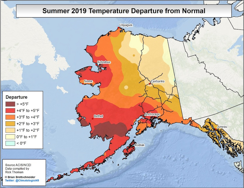 Temperature departures for Alaska during the climatological summer (June-August) 2019