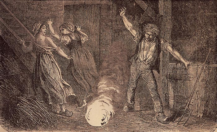 A fanciful 19th-century lithograph illustrates ball lightning terrorizing folks in a barn