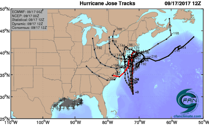 The 0Z Sunday September 17, 2017, track forecast by the operational European & high-res ensemble members for Jose