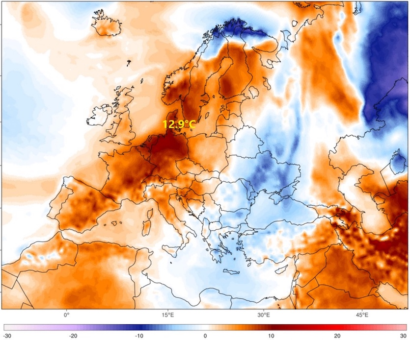 Temperature anomalies for Europe, 1/24/2018
