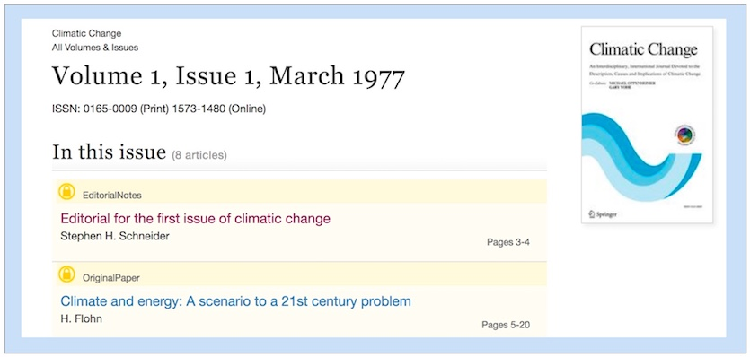 Screenshot of debut issue of Climatic Change