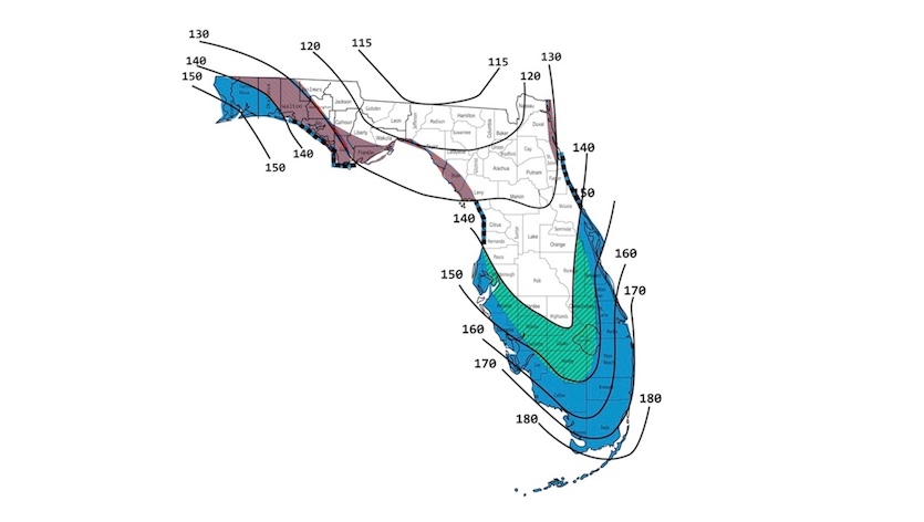 Map of wind gusts used in Florida Building Code