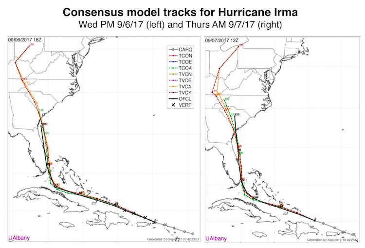 Consensus guidance on Irma, 18Z 9/6/17 and 12Z 9/7/17