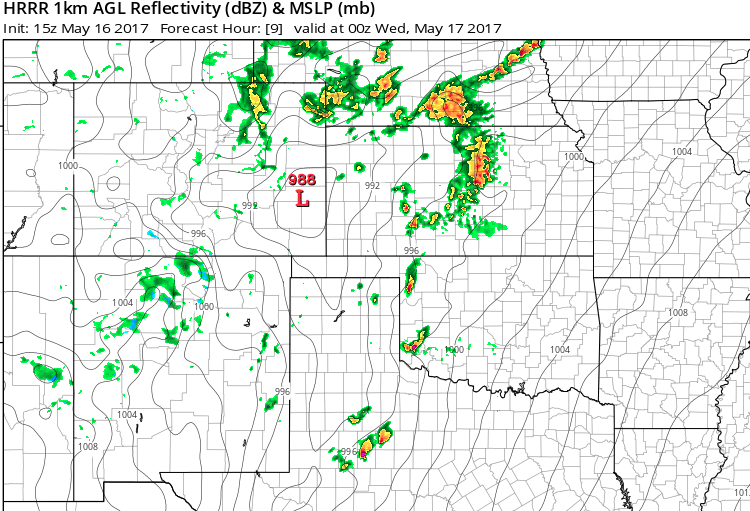 Projected location of storms across southern Plains at 7 PM CDT 5/16/2017