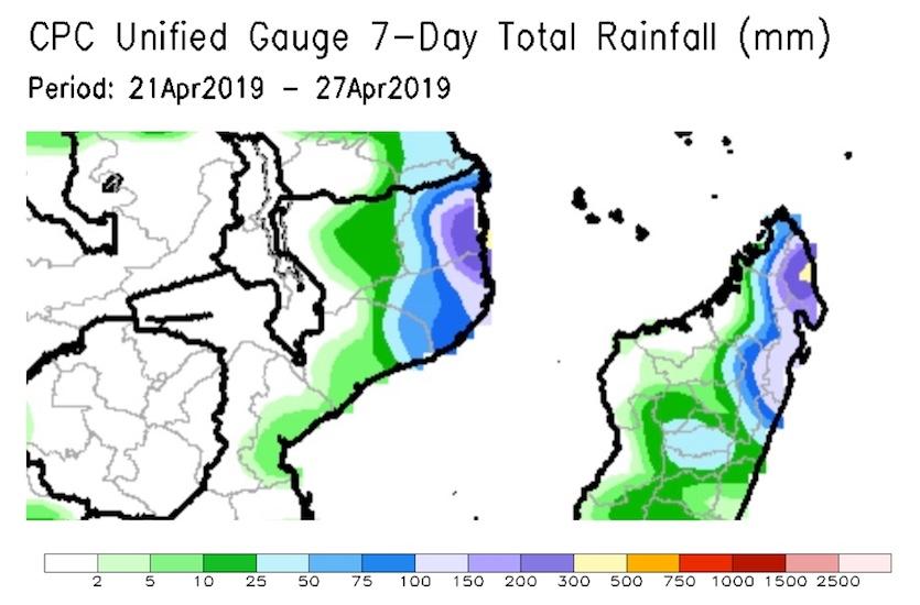 Satellite-based estimates of rainfall for the week ending Saturday, April 27, 2019