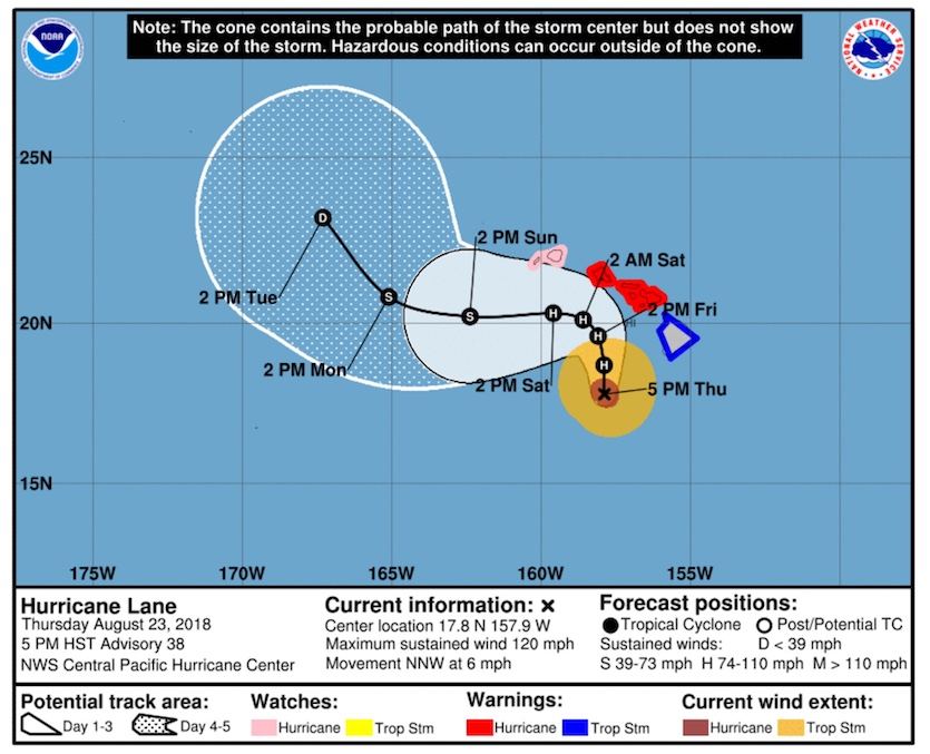 """Forecast track and """"cone of uncertainty"""" for Lane as of 5 pm HST 8/23/18"""