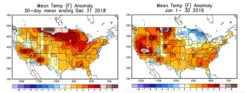 Departures from average temperature for December 2-31, 2018 (left), and January 1-30, 2019 (right).