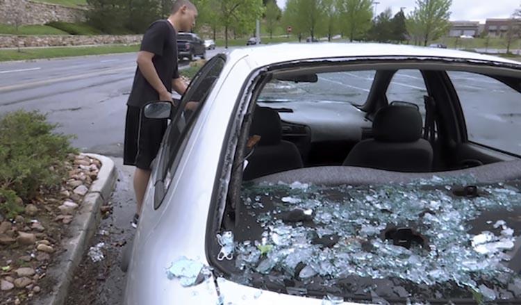 Hail damage in Denver