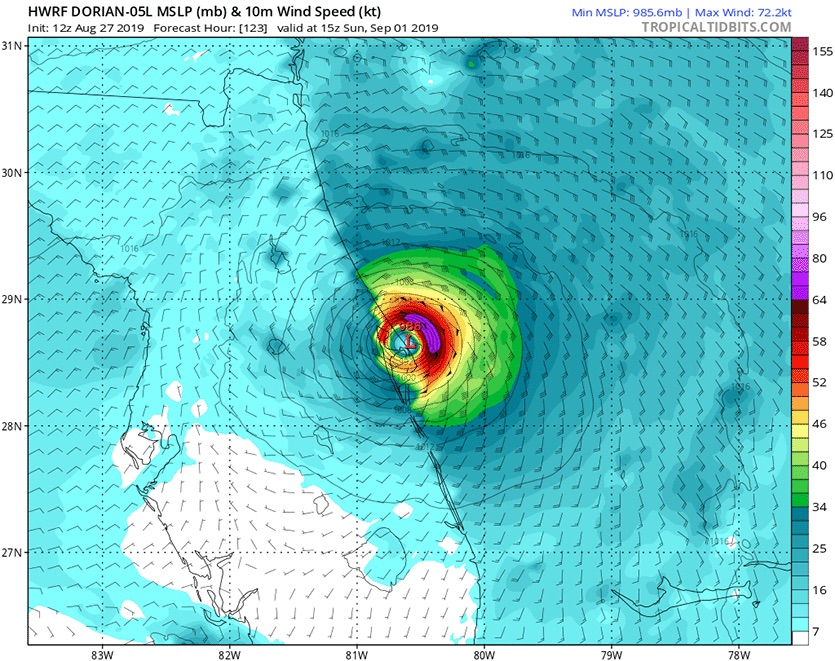 Predicted wind speeds (colors) and pressure (black lines) for Dorian at 11 am EDT Sunday, September 1, 2019, from the 12Z Tuesday, August 27, 2019 run of the HWRF model