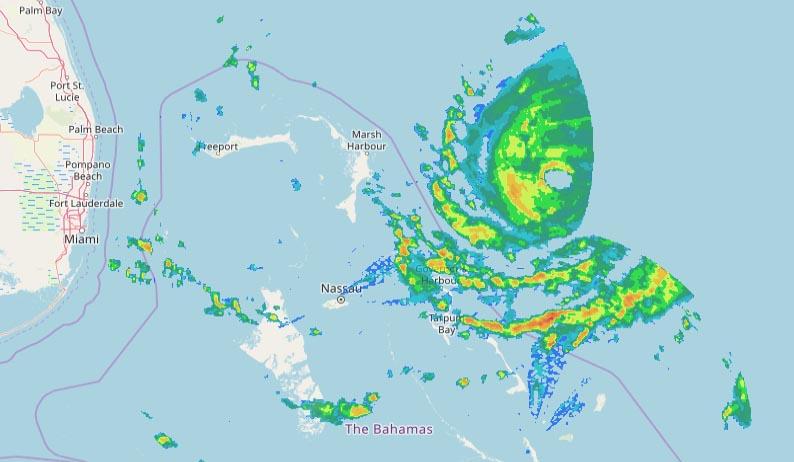 Composite radar image of Dorian at 9:55 pm EDT August 31, 2019