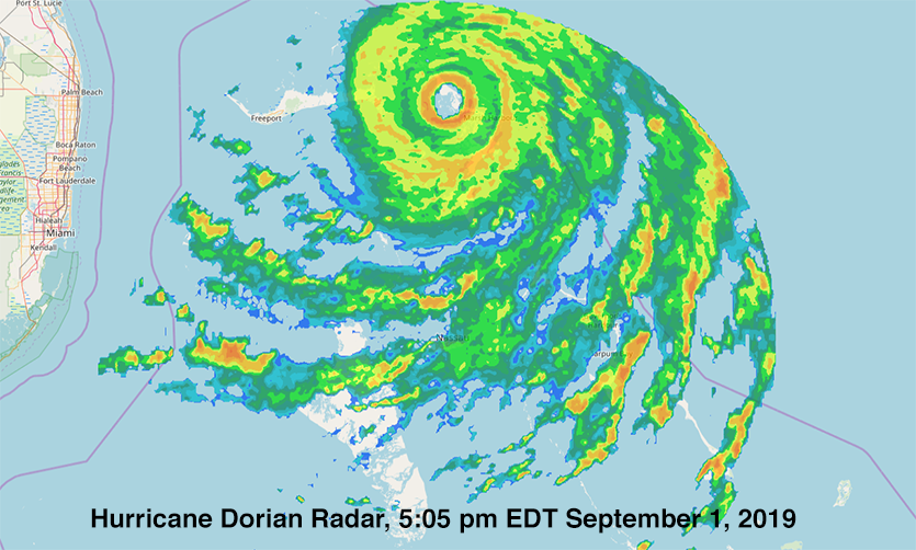 Composite radar image of Dorian at 5:05 pm EDT September 1, 2019