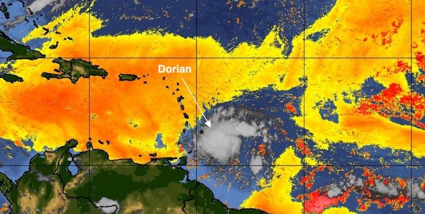 Dry air layer around Dorian, 8/26/19