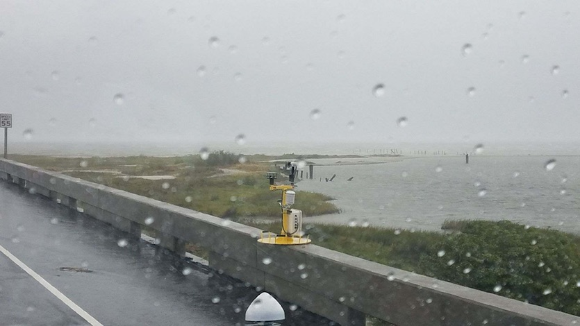 CSWR weather pod installed on bridge during approach of Hurricane Harvey